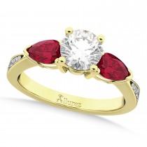 Round Diamond & Pear Ruby Gemstone Engagement Ring 18k Yellow Gold (1.79ct)