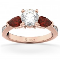 Diamond & Pear Ruby Gemstone Engagement Ring 14k Rose Gold (0.79ct)