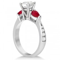Diamond & Pear Ruby Gemstone Engagement Ring 14k White Gold (0.79ct)