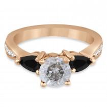 Round Salt & Pepper & Pear Black Diamond Engagement Ring 14k Rose Gold (1.29ct)