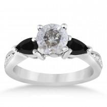 Round Salt & Pepper & Pear Black Diamond Engagement Ring 14k White Gold (1.29ct)