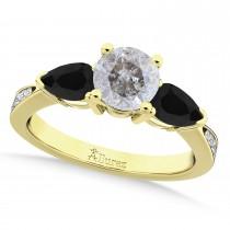 Round Salt & Pepper & Pear Black Diamond Engagement Ring 14k Yellow Gold (1.29ct)