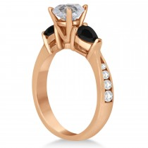 Round Salt & Pepper & Pear Black Diamond Engagement Ring 18k Rose Gold (1.29ct)