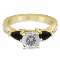 Round Salt & Pepper & Pear Black Diamond Engagement Ring 18k Yellow Gold (1.29ct)
