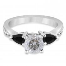 Round Salt & Pepper & Pear Black Diamond Engagement Ring Palladium (1.29ct)