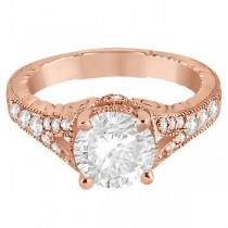 Antique Style Art Deco Diamond Engagement Ring 14K Rose Gold (0.33ct)