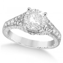 Antique Art Deco Round Diamond Engagement Ring 14k White Gold 1.50ct