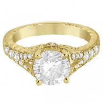 Antique Art Deco Round Diamond Engagement Ring 14k Yellow Gold 1.03ct