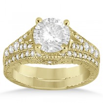 Antique Style Art Deco Diamond Bridal Set 14K Yellow Gold (0.53ct)
