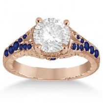 Antique Art Deco Blue Sapphire Engagement Ring 14k Rose Gold (0.33ct)