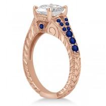 Antique Art Deco Blue Sapphire Engagement Ring 14k Rose Gold (0.33ct)