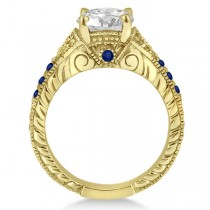 Antique Art Deco Blue Sapphire Engagement Ring 14k Yellow Gold (0.33ct)
