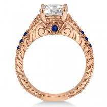 Antique Art Deco Blue Sapphire Engagement Ring 18k Rose Gold (0.33ct)