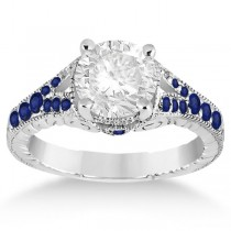 Antique Art Deco Blue Sapphire Engagement Ring 18k White Gold (0.33ct)