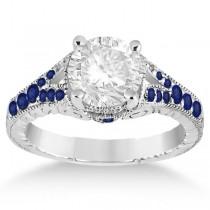 Antique Art Deco Blue Sapphire Engagement Ring 18k White Gold (0.33ct)