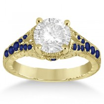 Antique Art Deco Blue Sapphire Engagement Ring 18k Yellow Gold (0.33ct)