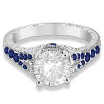 Antique Style Art Deco Blue Sapphire Engagement Ring Platinum (0.33ct)