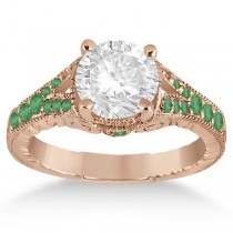 Antique Style Art Deco Emerald Engagement Ring 18k Rose Gold (0.33ct)