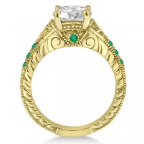 Antique Style Art Deco Emerald Engagement Ring 18k Yellow Gold (0.33ct)