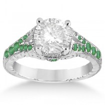 Antique Style Art Deco Emerald Engagement Ring Platinum (0.33ct)