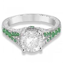 Antique Style Art Deco Emerald Engagement Ring Platinum (0.33ct)