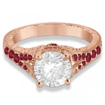 Antique Style Art Deco Ruby Engagement Ring 18k Rose Gold (0.33ct)