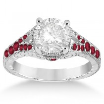 Antique Style Art Deco Ruby Engagement Ring 18k White Gold (0.33ct)