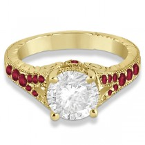 Antique Style Art Deco Ruby Engagement Ring 18k Yellow Gold (0.33ct)