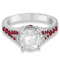 Antique Style Art Deco Ruby Engagement Ring Platinum (0.33ct)