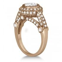 Vintage Diamond Halo Art Deco Engagement Ring 14k Rose Gold (0.97ct)