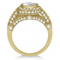 Vintage Diamond Halo Art Deco Engagement Ring 14k Yellow Gold (0.97ct)