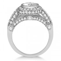 Vintage Diamond Halo Art Deco Engagement Ring 18k White Gold (0.97ct)