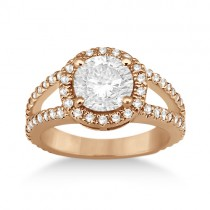 Split Shank Pave Halo Diamond Engagement Ring 18k Rose Gold (0.75ct)