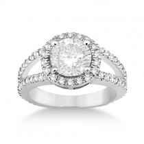 Split Shank Pave Halo Diamond Engagement Ring 18k White Gold (0.75ct)
