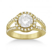 Split Shank Pave Halo Diamond Engagement Ring 18k Yellow Gold (0.75ct)