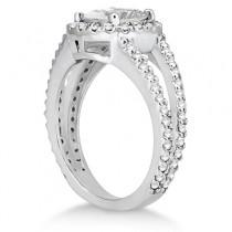 Split Shank Pave Halo Diamond Engagement Ring Palladium (0.75ct)