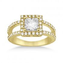 Princess Cut Halo Diamond Engagement Ring 14k Yellow Gold (0.72ct)