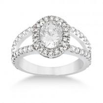 Split Shank Oval Halo Diamond Engagement Ring 18k White Gold (0.90ct)