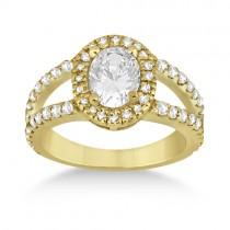 Split Shank Oval Halo Diamond Engagement Ring 18k Yellow Gold (0.90ct)