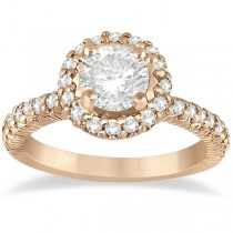 Round Diamond Halo Engagement Ring Setting 14k Rose Gold (0.75ct)