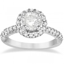 Round Diamond Halo Engagement Ring Setting 14k White Gold (0.75ct)