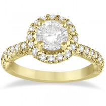 Round Diamond Halo Engagement Ring Setting 14k Yellow Gold (0.75ct)