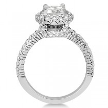 Round Diamond Halo Engagement Ring Setting 18k White Gold (0.75ct)
