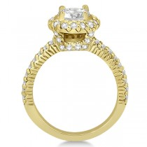Round Diamond Halo Engagement Ring Setting 18k Yellow Gold (0.75ct)