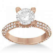Eternity Pave Set Trio Diamond Engagement Ring 18k Rose Gold (0.88ct)