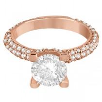 Eternity Pave Set Trio Diamond Engagement Ring 18k Rose Gold (0.88ct)