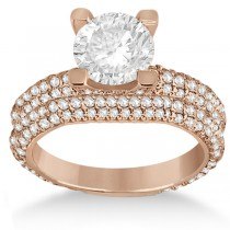 Eternity Pave Set Trio Diamond Bridal Set 14k Rose Gold (1.63ct)