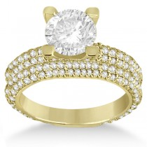 Eternity Pave Set Trio Diamond Bridal Set 14k Yellow Gold (1.63ct)
