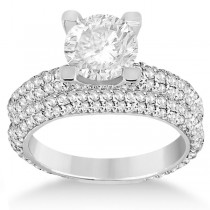Eternity Pave Set Trio Diamond Bridal Set 18k White Gold (1.63ct)