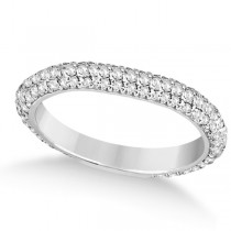 Eternity Pave Set Trio Diamond Wedding Band 14k White Gold (0.75ct)